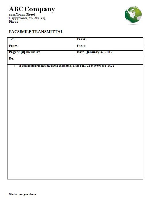 Doc7911024 Example of Fax Cover Page Free fax cover sheet – Fax Sheet Example